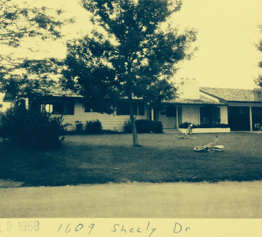 1609 Sheely Drive in 1968 (with the kids bikes out front).