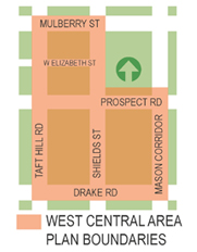 Simplified map from the 2014 study of the West Central Neighborhoods.