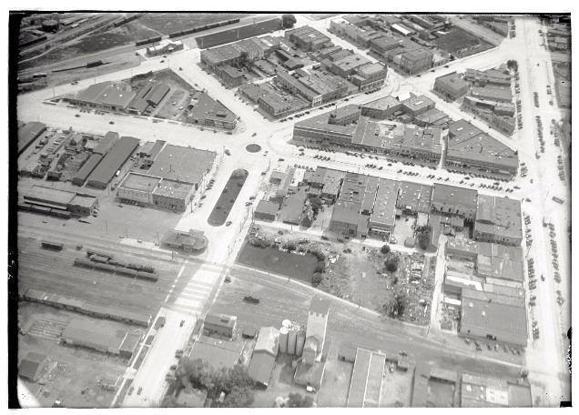 Aerial photo of Old Town as well as the depot and train lines on Mason Street.