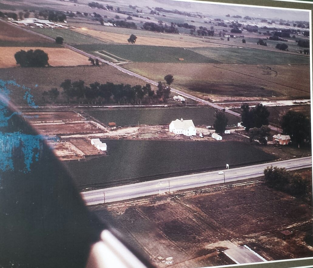 An aerial shot of the farm southwest of College and Drake in 1964. (Photo courtesy of Sal de Leo.)