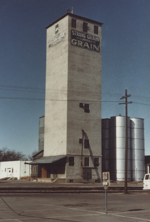 The Strang Grain Company was located just south of the depots, on the 100 block of North Mason. This building was demolished in 1983. (Photo.. Fort Collins Historical Collection.)