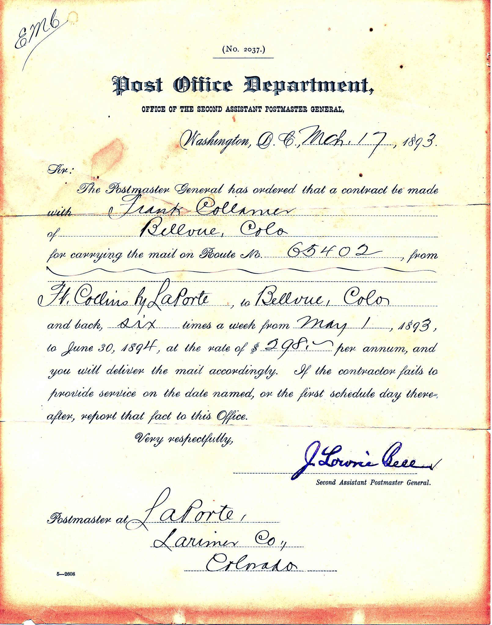 Frank Collamer contracted with the government to carry the mail. (Document courtesy of Jim Burrill. )
