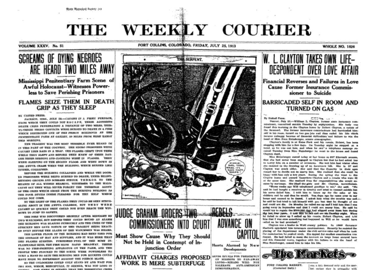 The front page of the Fort Collins Weekly Courier on July 25, 1913.