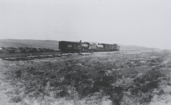 Building the railroad to Wellington - This photo is probably from 1902 and was included in by Arlene Briggs Ahlbrandt's book entitled, History of Wellington, Colorado and the Boxelder Valley, 1864-1996