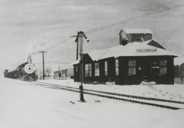 "The Wellington train depot was built in 1916 and demolished around 1959. This photo is also from Ahlbrandt's ""History of Wellington."""
