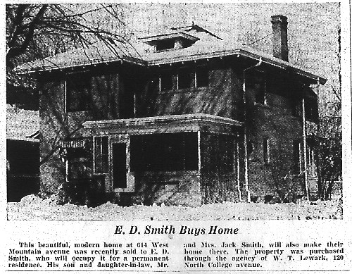 This December 19, 1937 notice announces a change in ownership for this house at 614 W. Mountain.