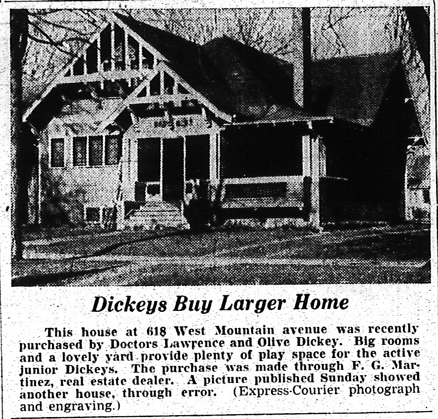 Though it was common in older newspapers to list the purchases of new homes in town, this clipping from the November 30, 1937 Express-Courier shows that photos had become a regular part of such announcements.