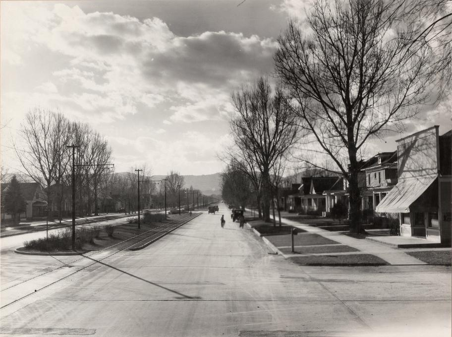 This 1928 photo of the 700 block of W. Mountain shows the only corner store located within the addition as well as the view towards the mountains that's much harder to see now-a-days with the more mature trees not only along the sides, but down the center of the street as well. This photo is from the digital CSU Archive & Special Collection.