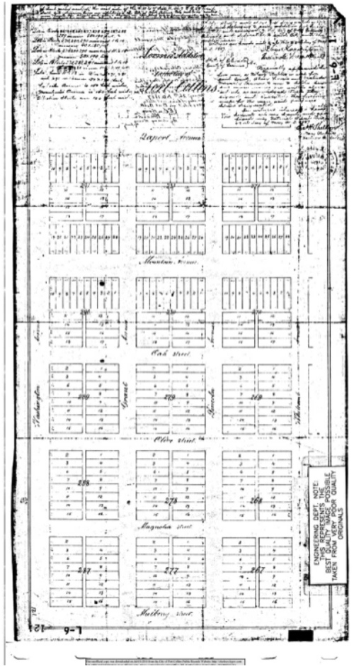This is the original plat of the Loomis Addition, 1887. This image is from Humstone's report on the neighborhood. She got the image from the City of Fort Collins Engineering Department. It's hard to make out the text, but the two streets near the top, Laporte and Mountain Avenues, look distinctly wider than Oak, Olive, Magnolia or Mulberry.