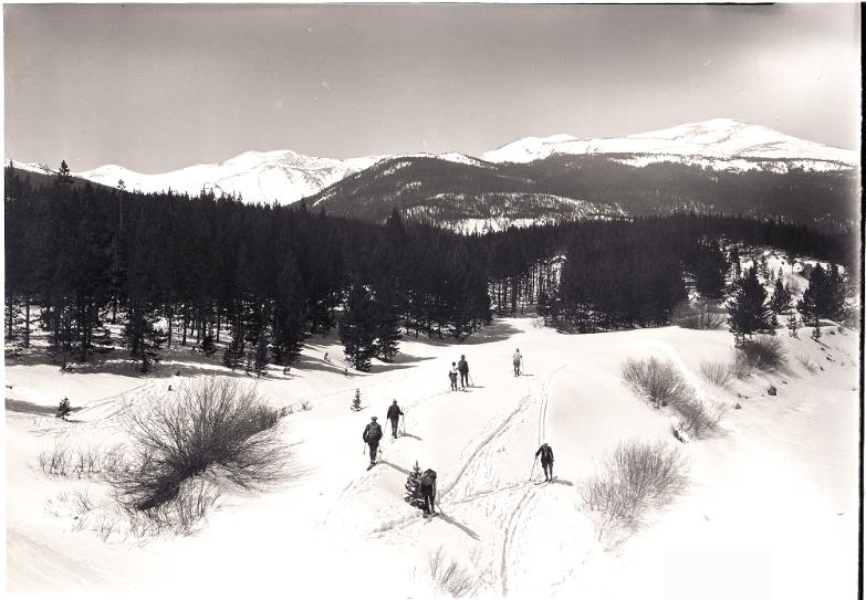 Seven cross country skiers in the Chambers Lake Area - dated April 5, 1931.