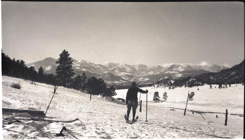A skier surveys the valley in this undated Estes Park scene.