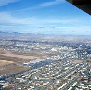Aerial view of Fort Collins in 1969 including South College Heights and University Plaza. This was the southern end of town at the time.