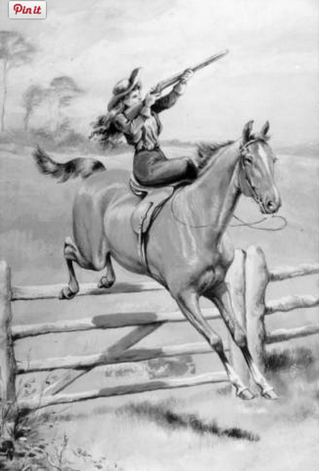 This sketch shows Annie Oakley riding a horse side-saddle. (From the Denver Public Library Archive, Z-8842.)