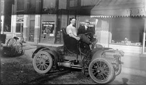 This photo of a new car was taken outside of the Pratt Bicycle Repair shop at 253 Linden. Just as bicycles became more popular than riding horses, the automobile was just about to take over the cultural and landscape of America. (Photo from the Fort Collins Archive - H08894.)