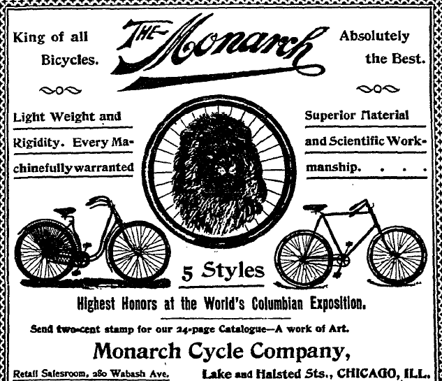 An ad for the Monarch bicycle. From the June 7, 1894 Fort Collins Courier.