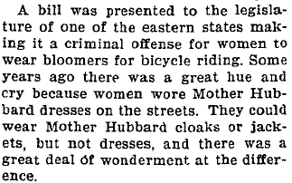 Bloomers illegal? (From the June 24, 1897 Fort Collins Courier.)