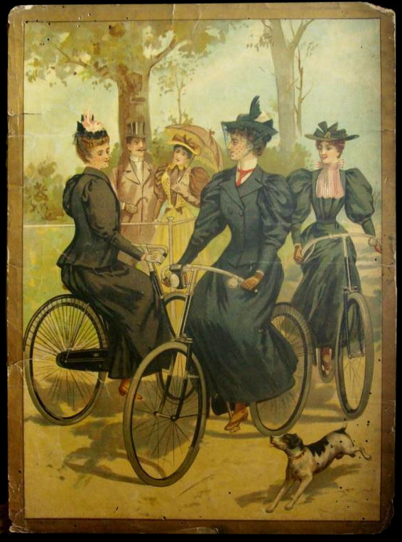 Victorian era women on bicycles in full length dresses. (Image from the Online Bicycle Museum.)