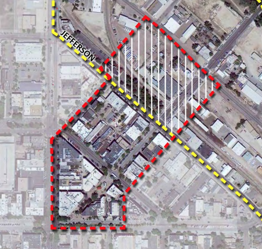 The dashed read line indicates the boundaries of the Old Town Historic District. Properties outside this boundary, unless they are individually designated (such as the Old Post Office at Oak and College) are unable to secure the same grants and tax credits that the landmarked properties can receive.