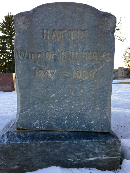 The gravestone of Hattie Hicks, wife of Harkless H. Hicks, at Grandview Cemetery -- section J.