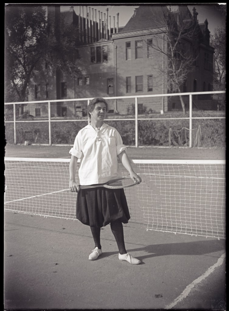 Unidentified tennis player at the Colorado Agricultural College in 1919. This photo is from the CSU archive, ID# UHPC_1750.