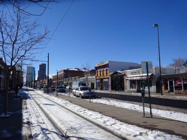 A look down Welton Street towards downtown Denver.