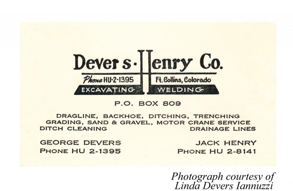 Advertisement for Devers - Henry Co. Excavating. Welding.