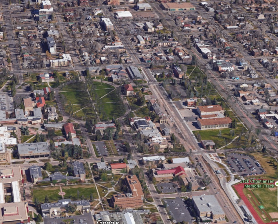 The Colorado State University campus looking north/north-east. Image from Google Maps.
