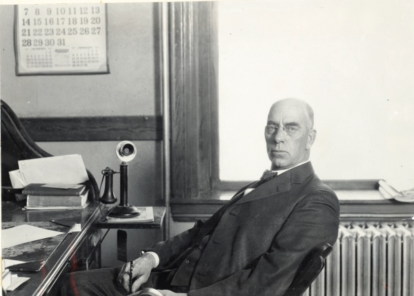 Edward B. House at his Colorado Agricultural College office in January 1923. (Colorado State University ID #UHPCSNP_2900)