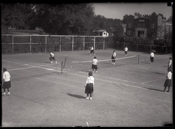 More team tennis as seen on October 10, 1923 with the Armory across the street at 826 S. College.(Colorado State University Archive #UHPC_4037)