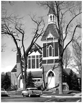 First Presbyterian Church as it stood on the Southwest corner of Olive and Remington. (Photo taken from the history page of the Immanuel Christian Reformed Church website. The congregation used the building after the Presbyterians moved College Avenue between Mulberry and Myrtle.)
