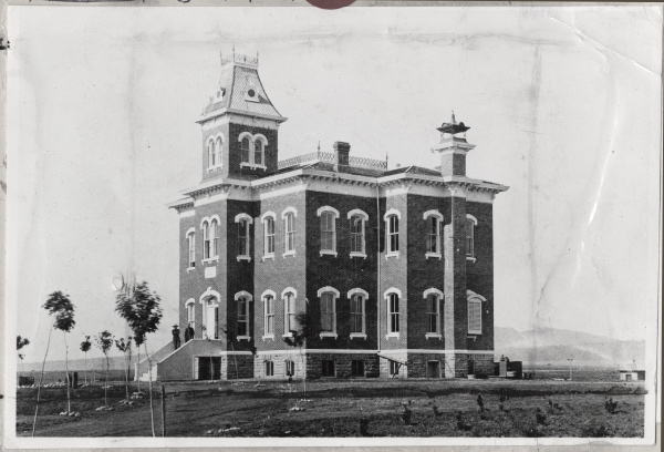 """Originally the """"Main"""" building on the Colorado Agricultural College campus, it was later called """"Old Main."""" The building burned down in 1970. (Photo from the CSU Archive - #UHPC_2788.)"""