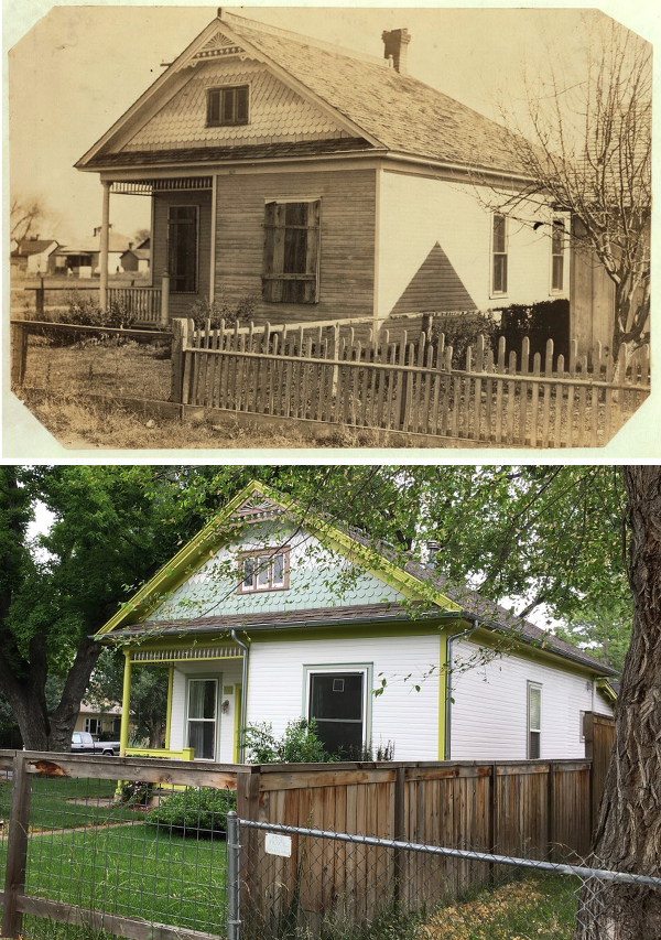 The image at top was taken in 1915 and is on file with the Library of Congress. The photo at bottom was taken on July 1, 2016 and isn't at quite the same angle due to a large tree in the neighbor's lawn.