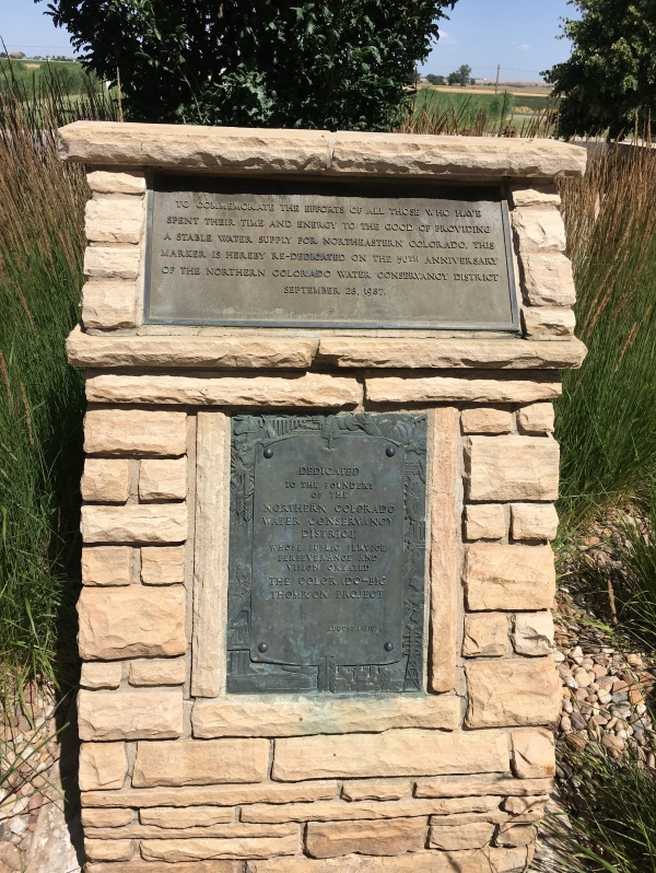 Plaques honoring those who had the foresight, and who put in a great deal of time and energy, to create a water diversion system as well as several storage systems in order to provide a steady supply of water to north eastern Colorado throughout the growing season.