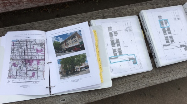 There were several binders that included the survey information that was completed on each building in the district.