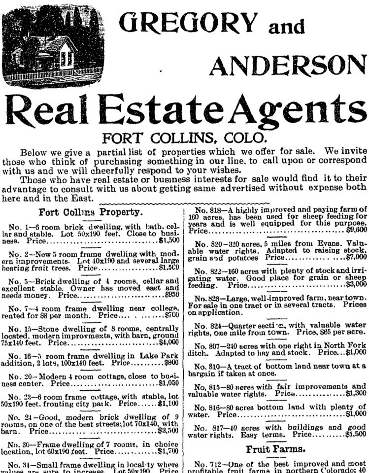 Real estate ads from August 16, 1900's Fort Collins Weekly Courier.