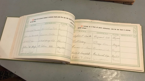 Guest book from the 1920s.