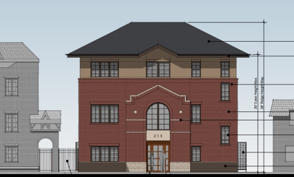 Three story office building going in at 215 Mathews. (Image from LPC agenda.)