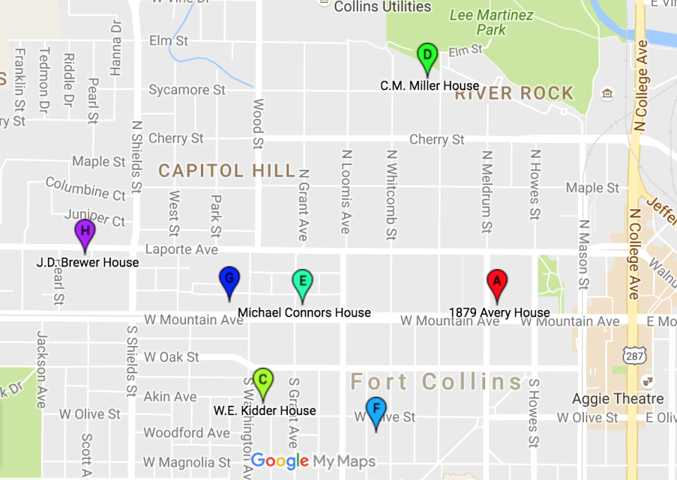 Seven of the eight properties are within an easy bicycle ride of each other. (The eighth is the Water Works, which is located out on Overland Drive.)