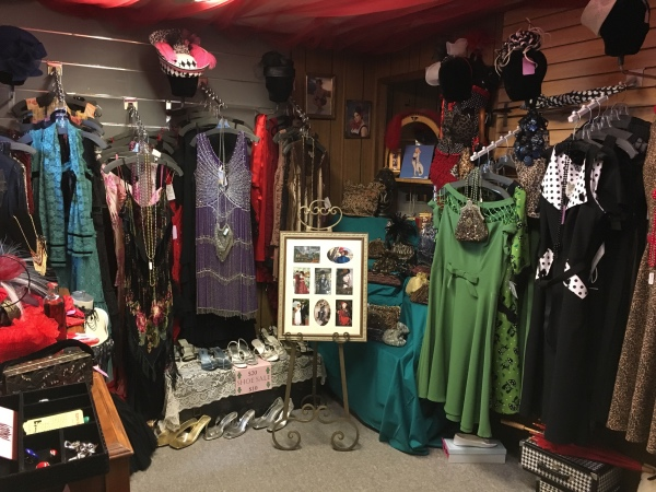 There are lots of dresses for sale.