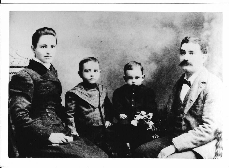 Amelia Bush with her husband Joseph Henry Lariviere and their children. (Photo from allenvi on Ancestry.com.)