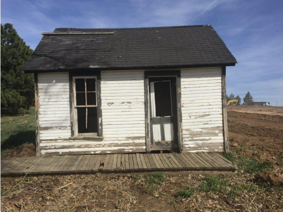 The Ross proving-up house in 2016 in a temporary location. The chimney is missing in this photo. (Photo from the Fort Collins Historical Preservation Department.)