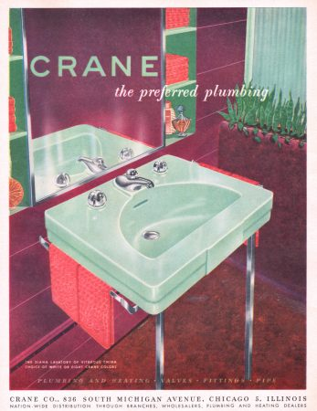 Crane Diana Lavatory 1950 Ad. Plumbing Fixtures. Stock Number: 08408. Vitreous China. Choice of White or Eight Crane Colors.