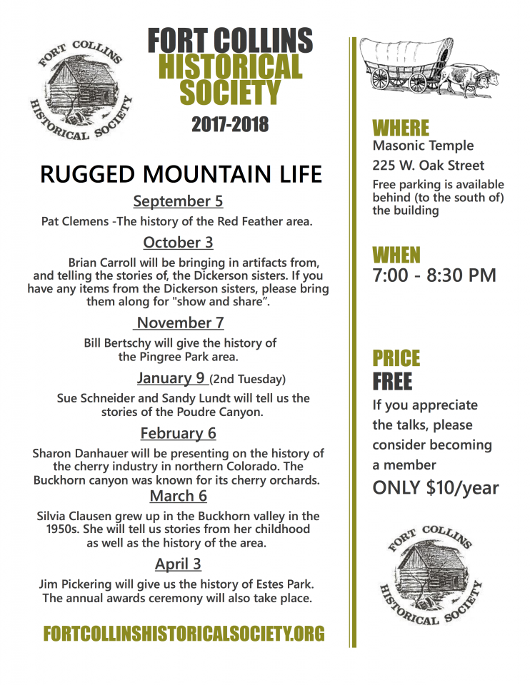 Flyer of talks for the 2017-18 season for the Fort Collins Historical Society